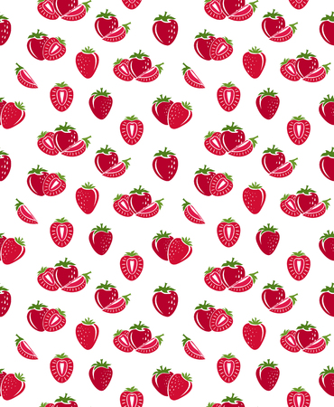 layout strawberry: Strawberry pattern. Vector seamless background with fruit icons.