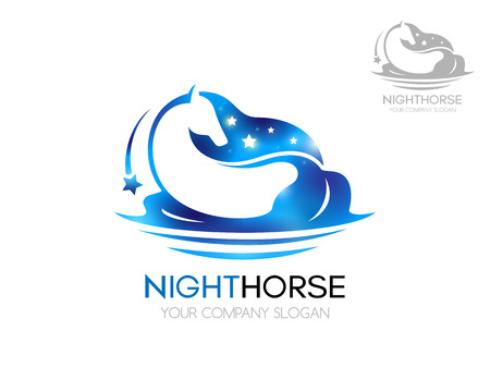 falling star: Horse logo. Blue horse with shiny stars. Logo vector template of blue horse in water with falling star on a white background