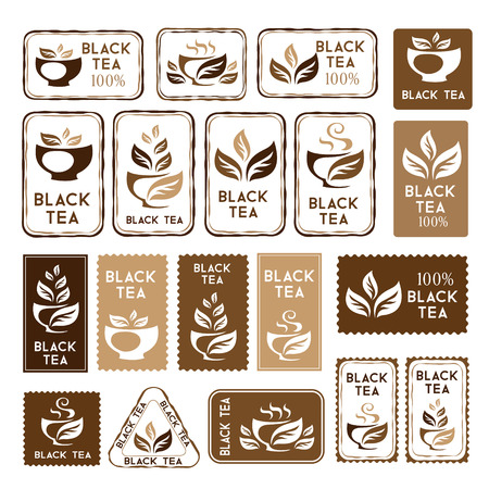 black tea: Tea. Black tea package elements. Stickers and banners collection. Vector isolated elements for packaging design. Illustration