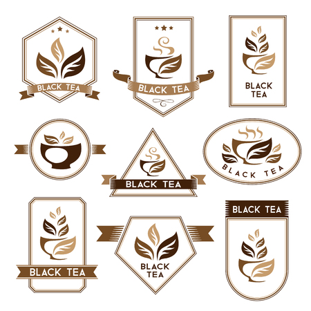 black tea: Tea. Black tea package elements.  Labels collection. Vector isolated elements for packaging design.