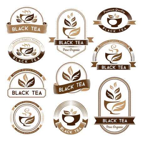 Tee. Schwarzer Tee Paket Elemente. Etiketten, Abzeichen und Aufkleber Sammlung. Vektor isolierte Elemente für Verpackungsdesign.