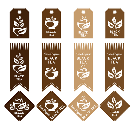 black tea: Tea. Black tea package elements. Tags, ribbons and stickers collection. Vector isolated elements for packaging design. Illustration