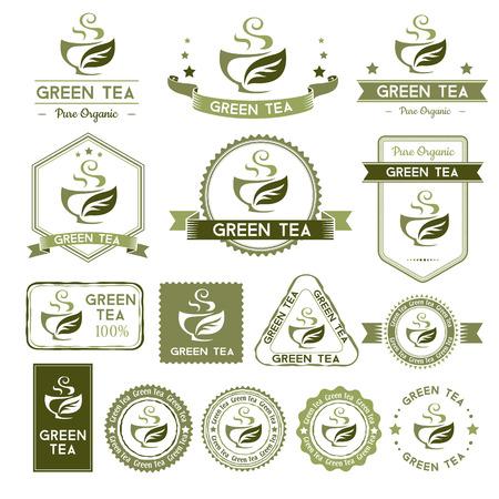 Tee-Etiketten. Grüner Tee Abzeichen Sammlung.