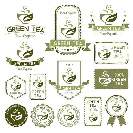Thee etiketten instellen. Groene thee badges, stempels en banners collectie.
