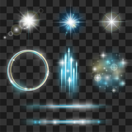 Glow light effect collection. Lens flares beams, flashes, starbursts, sparkles on transparent background.