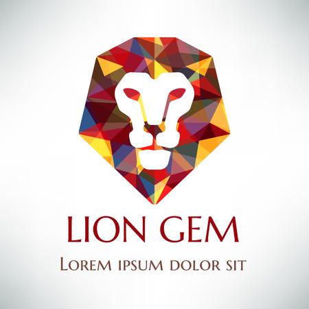 mane: Crystal lion logo design. Lion face with gemmed mane.  Logotype concept icon.