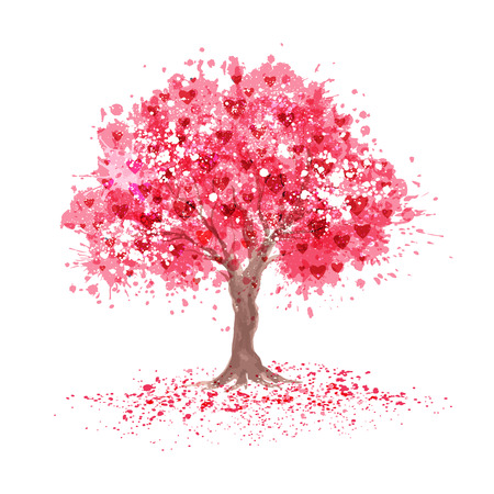 Cherry blossom tree with hearts symbols in abstraction style.