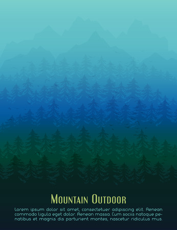 rockies: Fir mountain forest in the fog. Vector poster