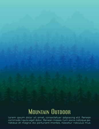 overlook: Fir mountain forest in the fog. Vector poster