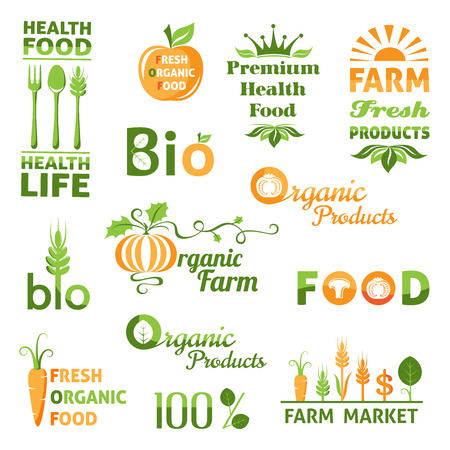 fresh food: Set of organic products logo. Bio emblems collection Illustration