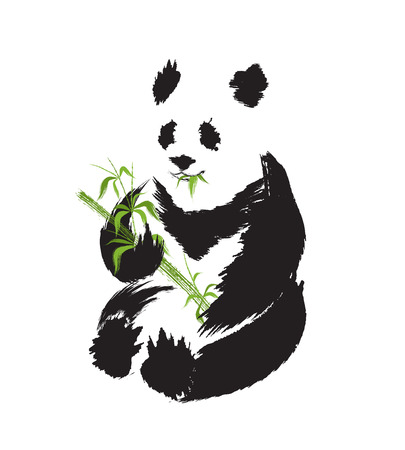 zenlike: Panda silhouette in asian ink painting style
