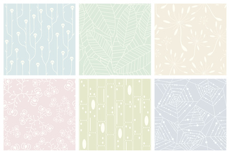 faint: Set of organic patterns. Seamless vector backgrounds. Illustration