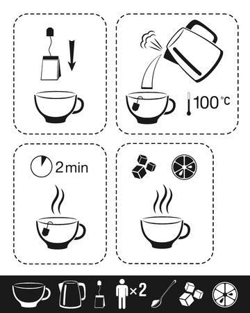 Thé instruction. Cuisine infographique pour le manuel sur l'emballage. Vecteurs