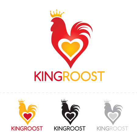 chicken meat: Rooster logo design. Stylized cock with heart and crown logotype concept icon.