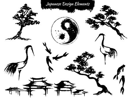 Set von asiatischen handgezeichneten Stil dekorative Elemente Standard-Bild - 57484226