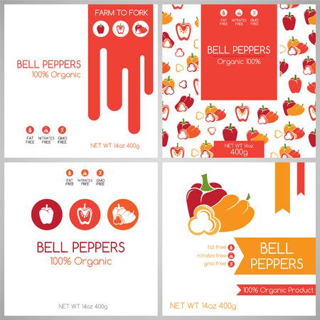 bell pepper: Bell pepper pack set. Vegetables label for packaging design