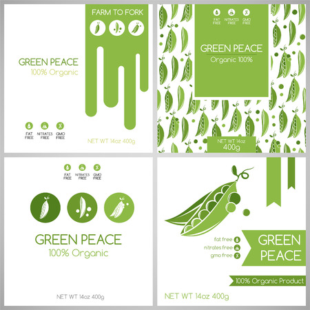 green peas: Green peas pack set. Vegetables label for packaging design