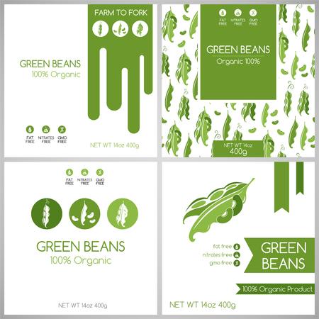 Groene bonen pak set. Groenten label voor packaging design