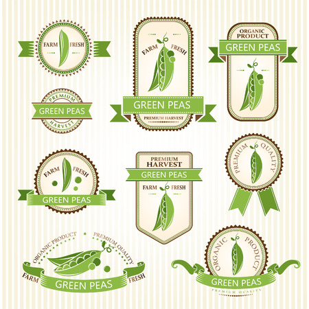 green peas: Green peas labels. Vegetabels color labels collection.  Packaging badges
