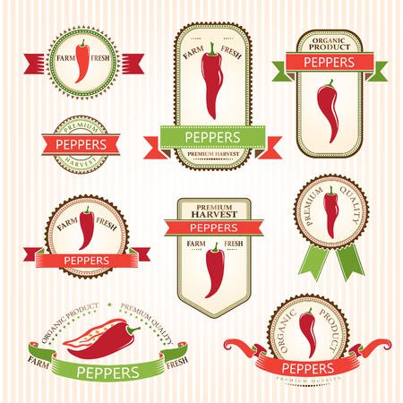 chili pepper: Chili peppers labels. Vegetabels color labels collection.  Packaging badges Illustration