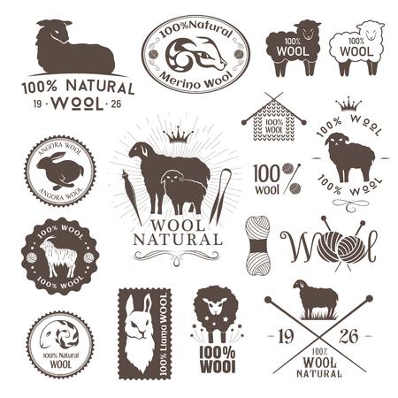 Wol labels en stickers. Logo set van schapen, alpaca, konijnen en geiten wol. Tekenen en emblemen voor natuurlijke wol producten.