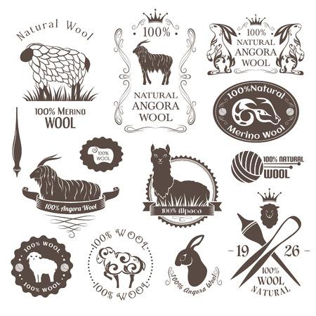 ウール ラベルと要素。ヒツジ、アルパカ、ウサギやヤギのウールのロゴを設定します。ステッカーと自然なウール製品のエンブレム。  イラスト・ベクター素材