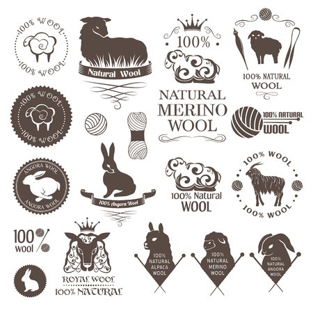 Wool design elements. Labels set of sheep, alpaca, rabbit and goat wool. Logos and emblems for natural wool products. Illustration