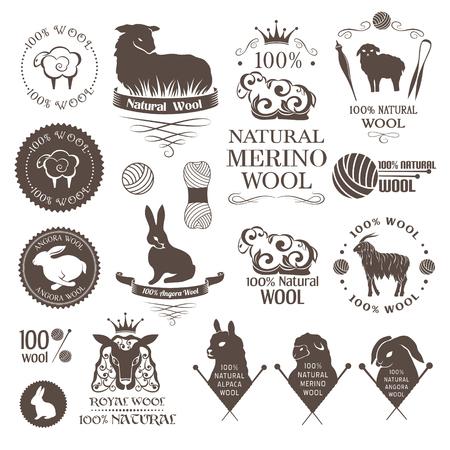 Wol design elementen. Labels set van schapen, alpaca, konijnen en geiten wol. Logo's en emblemen voor natuurlijke wol producten. Logo