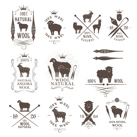 Wool labels and emblems collection. Sheep, alpaca, rabbit and goat wool signs for natural wool products. Vectores