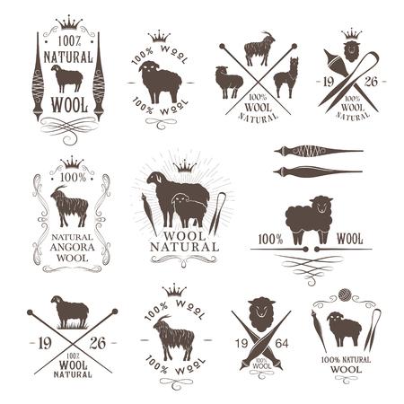 Wol etiketten en emblemen collectie. Schapen, alpaca, konijnen en geiten wollen borden voor natuurlijke wol producten.