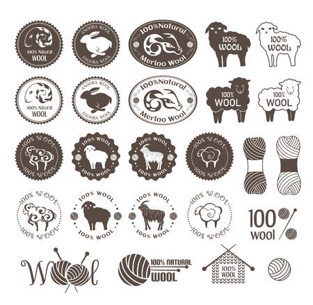 Etykiety wełny. Zestaw owiec, królików i wełny kóz naklejek. Znaki i emblematów dla naturalnych produktów wełnianych.