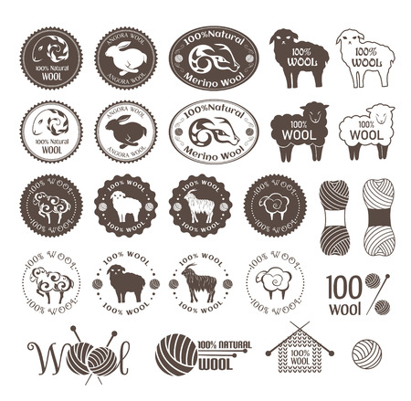Wool labels. Set of sheep, rabbit and goat wool stickers. Signs and emblems for natural wool products.