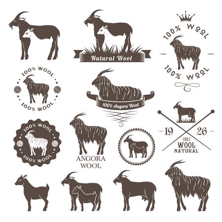 Etichette lana. capra d'Angora emblemi di raccolta. Logo fissato per cashmere e lana mohair prodotti. Archivio Fotografico - 57484559