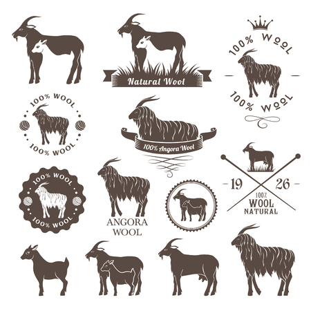mohair: Wool labels. Angora goat emblems collection. Logo set for cashmere and mohair wool products.