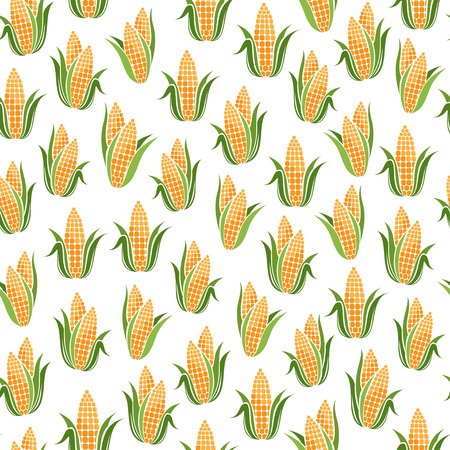 sweet corn: Seamless pattern with Sweet Corn. Seamless pattern with Eggplant Illustration