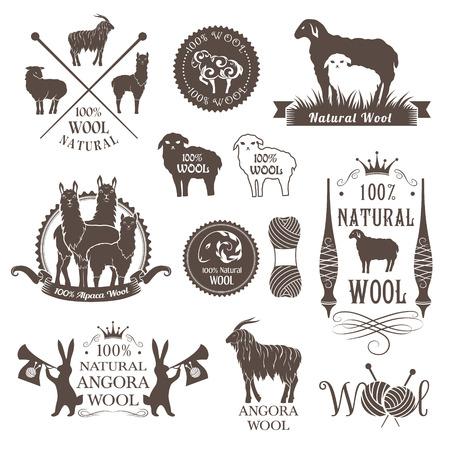 ウールのラベルやデザイン要素。ヒツジ、アルパカ、ウサギやヤギのウールのロゴを設定します。標識や自然なウール製品のエンブレム。