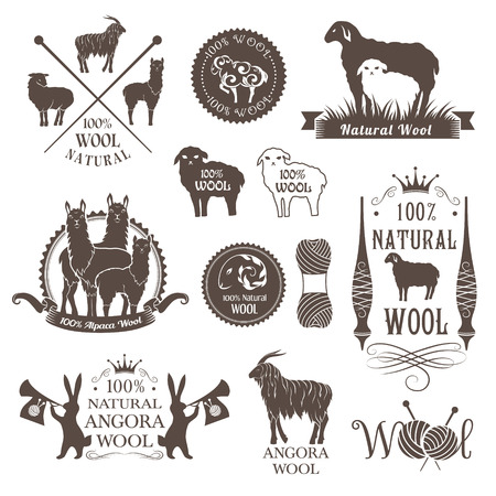 Wool labels and design elements. Logo set of sheep, alpaca, rabbit and goat wool. Signs and emblems for natural wool products. Illustration