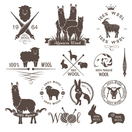 Wool labels, signs and design elements. Logo set of sheep, alpaca, rabbit and goat wool. Stickers and emblems for natural wool products.