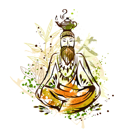 yoga to cure health: Asian monk in lotus pose with teapot. Green tea leaves backdrop. Vector illustration in watercolor style.