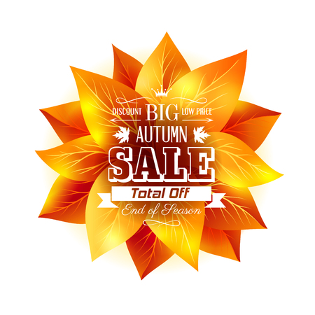 season: Autumn banner with fall leaves and season sale text.