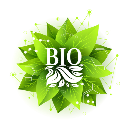 Bio label. Vector badge with green leaves and abstract design elements. Sticker for organic, natural, healthy products