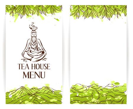tea plantation: Green tea menu template. Zen monk with teapot logo. Tea banner collection.