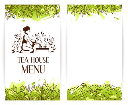 Green tea menu template. Japanese tea ceremony logo. Tea banner collection. Vettoriali