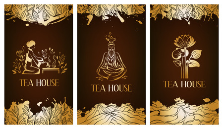 oolong: Tea house flayer template.  Tea banner collection. Illustration
