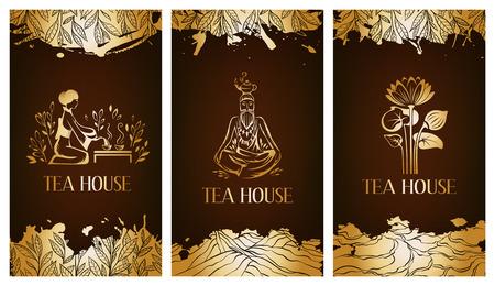 tea plantation: Tea house flayer template.  Tea banner collection. Illustration