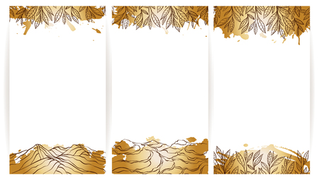 oolong: Tea lanscape banner collection. Vertical flayers templates.