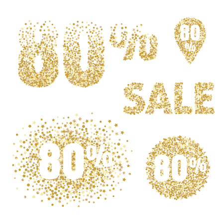 flayers: Gold sale design elements and icons. 80 percent discount tags for flayers, selling posters, shopping, banners, coupons.