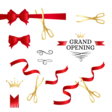Grand opening decoration elements. Cut red ribbons, bows and gold scissors Vectores