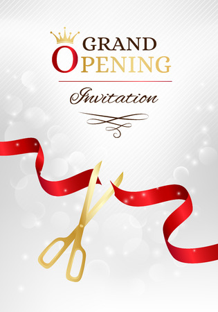 Grand opening invitation card with cut red ribbon and gold scissors. Vector background with light effect Иллюстрация