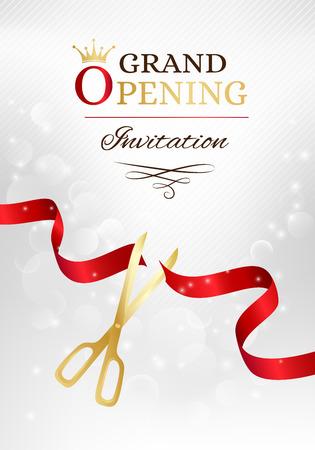 Grote opening uitnodigingskaart met gesneden rood lint en gouden schaar. Vectorachtergrond met lichteffect Stock Illustratie